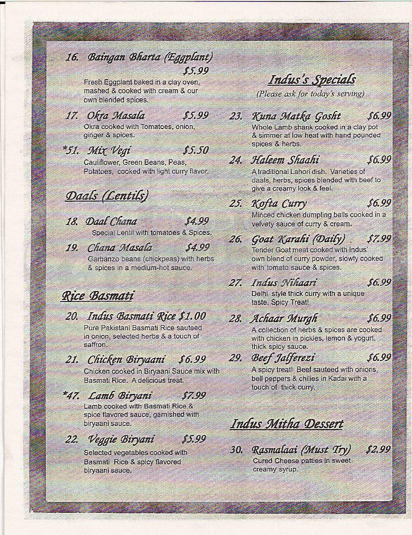 menu for Indus Village