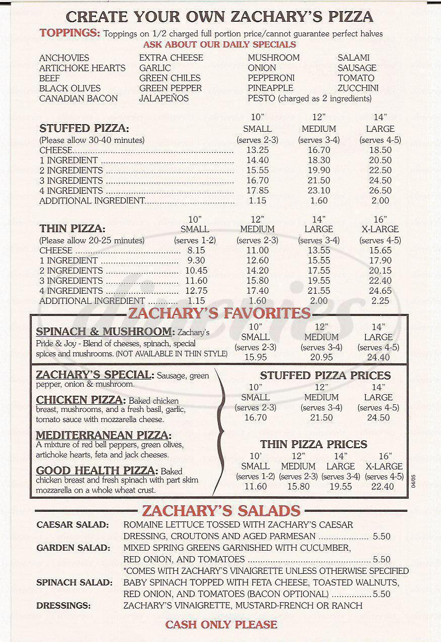 menu for Zachary's Chicago Pizza