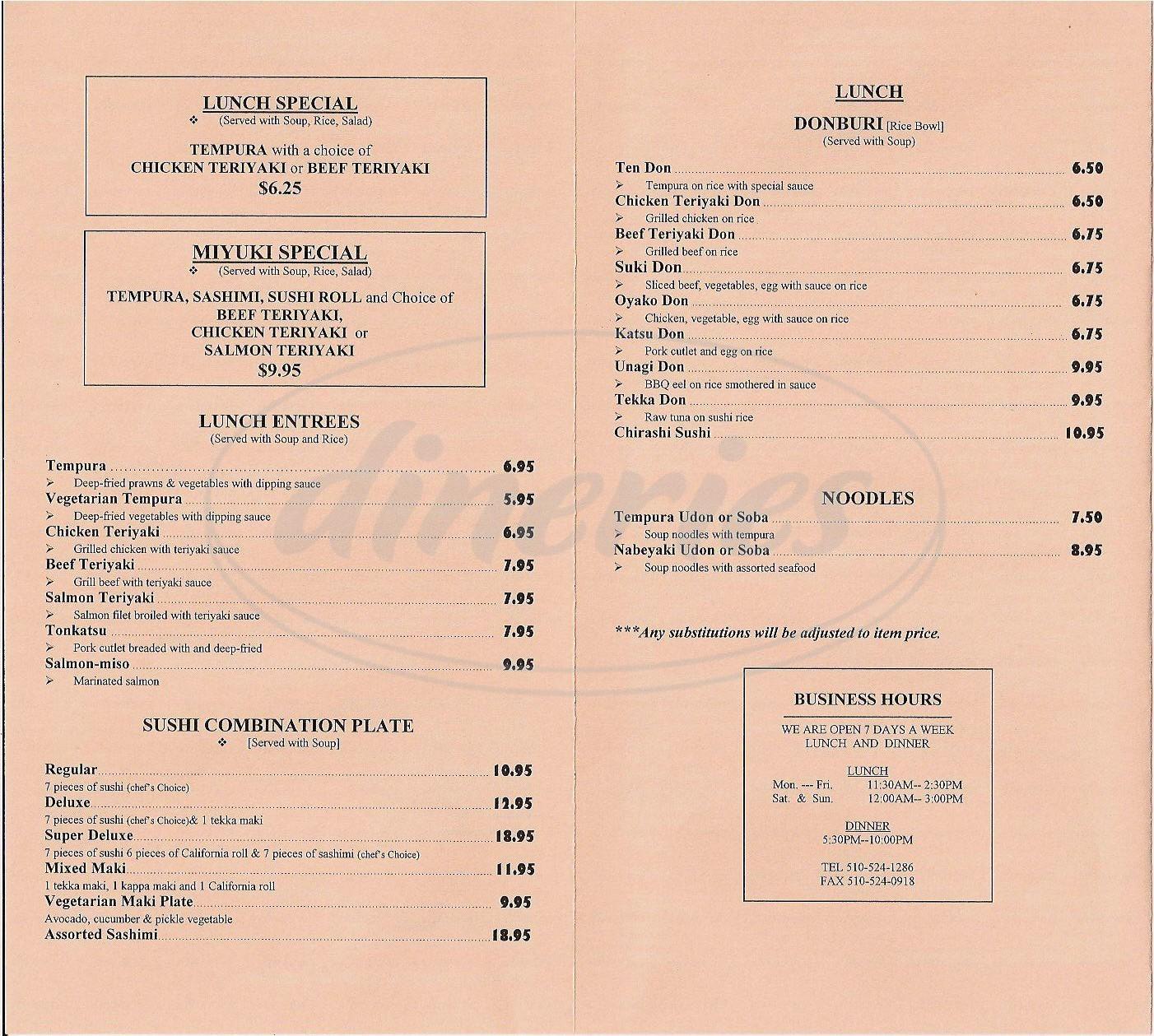 menu for Miyuki