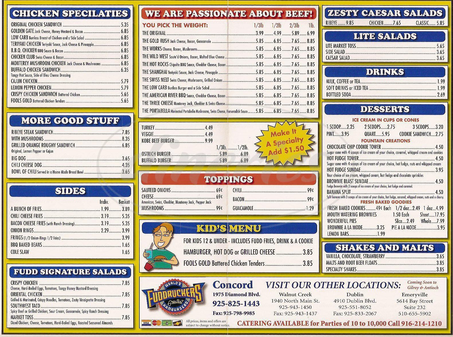 menu for Fuddruckers