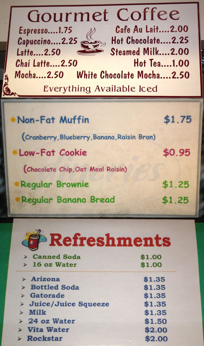menu for Julie's Café