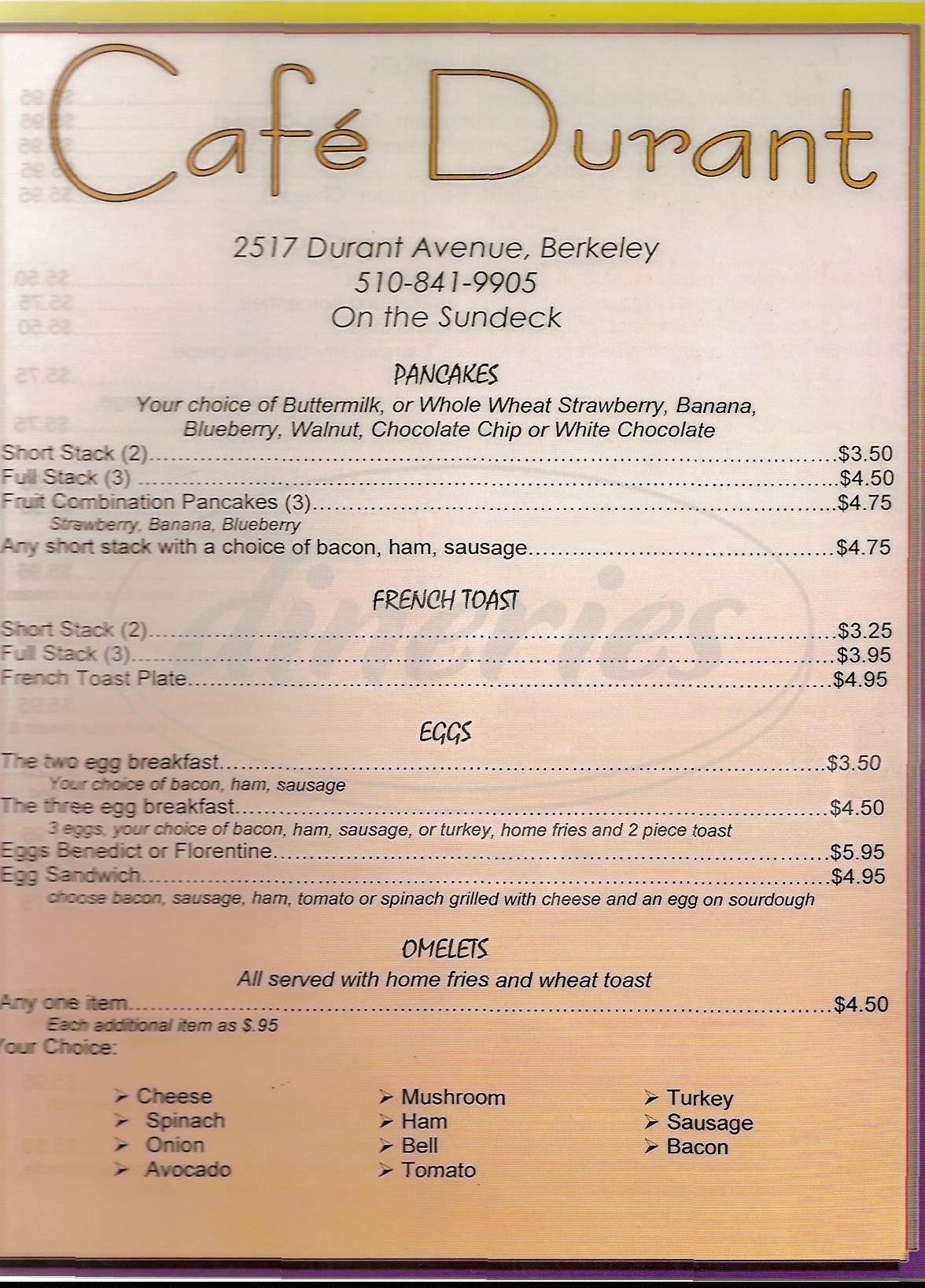 menu for Café Durant