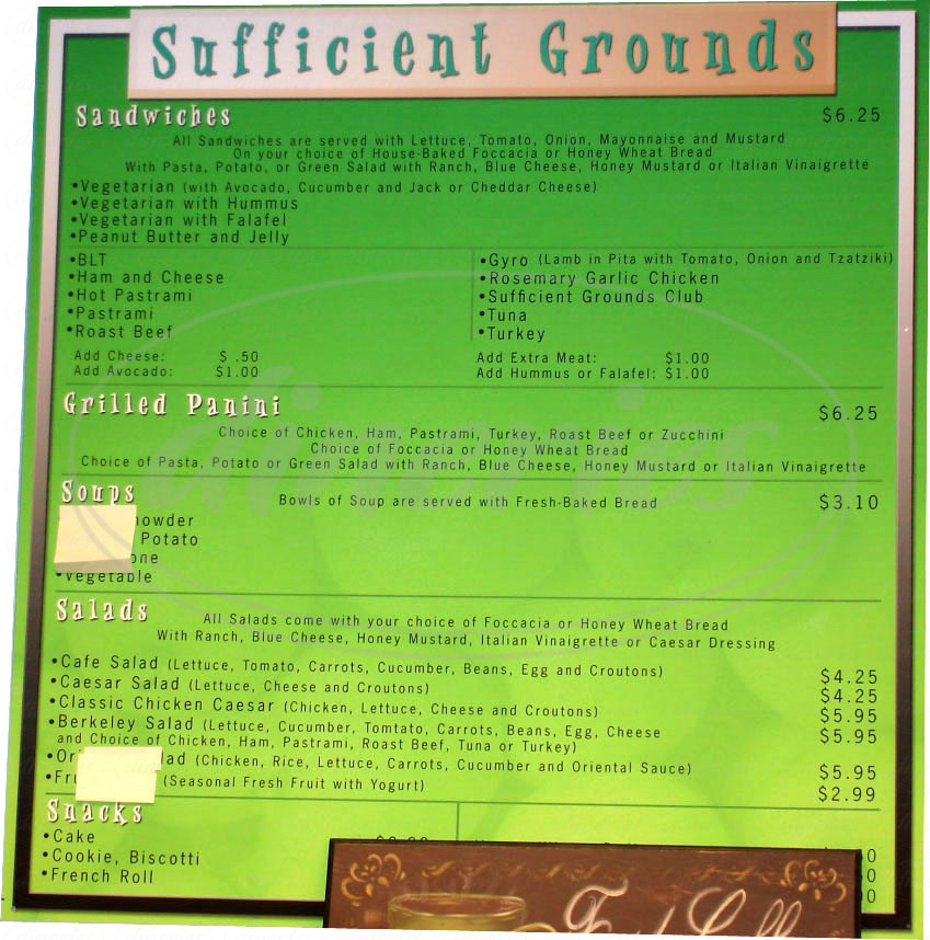 menu for Sufficient Grounds Coffee