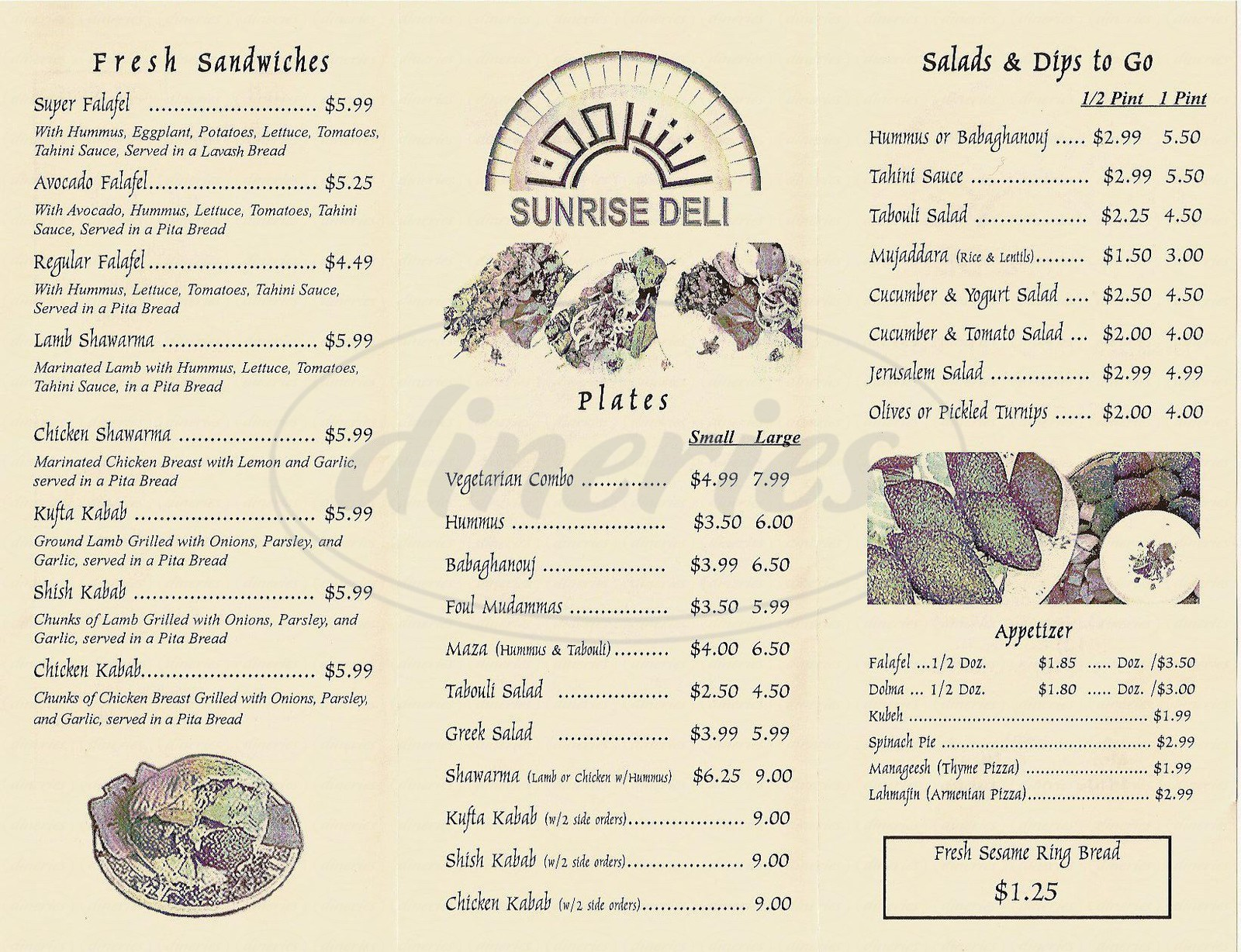 menu for Sunrise Deli