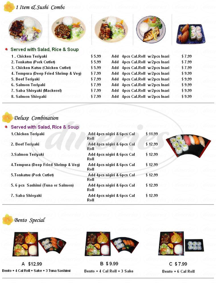 menu for Tako Sushi