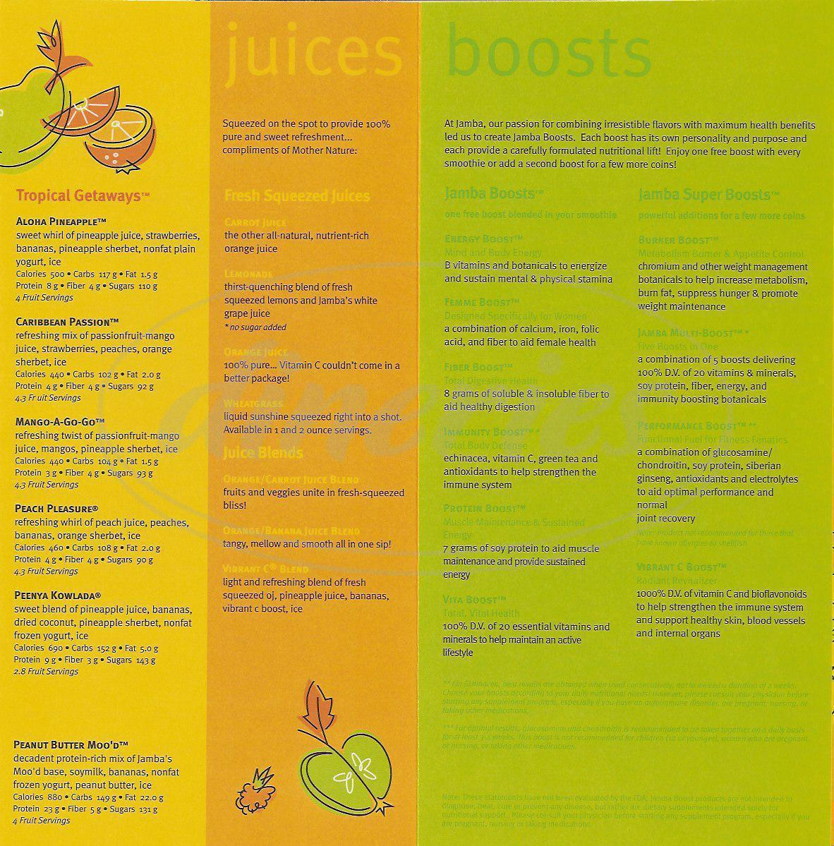 Big menu for Jamba Juice, Union City