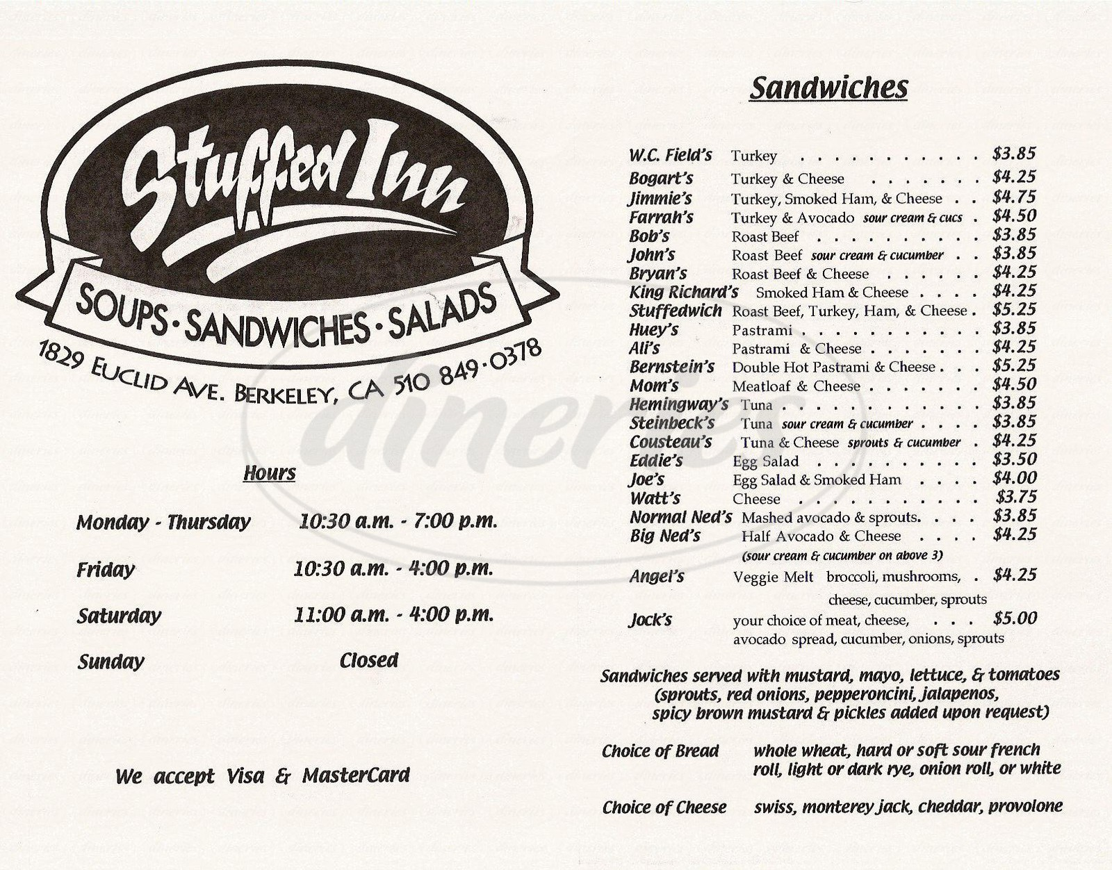 menu for Stuffed Inn