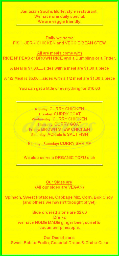 menu for Jamaican Soul