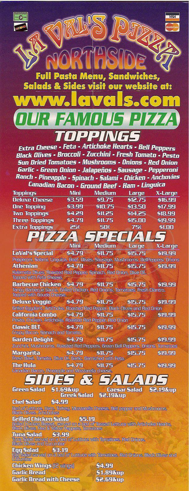 menu for La Val's Pizza