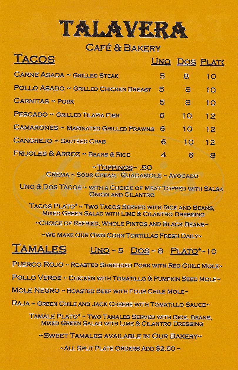 menu for Talavera