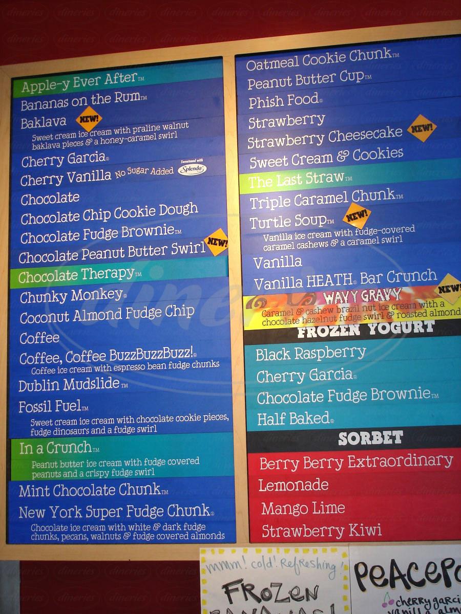 menu for Ben & Jerry's