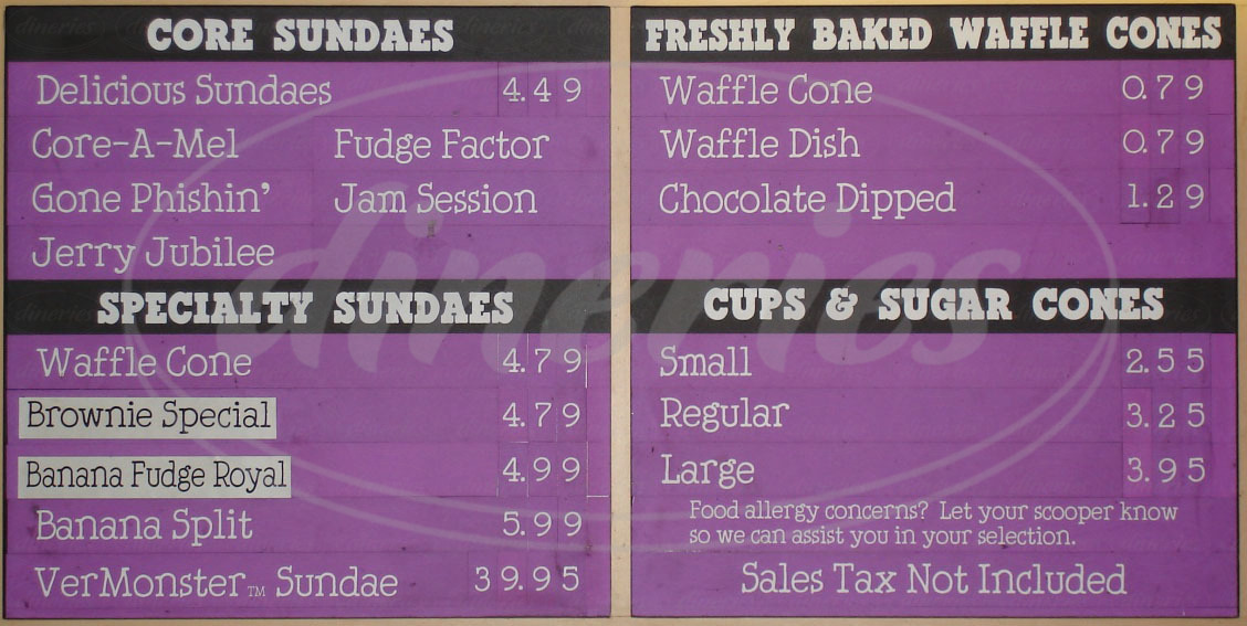 menu for Ben & Jerry's