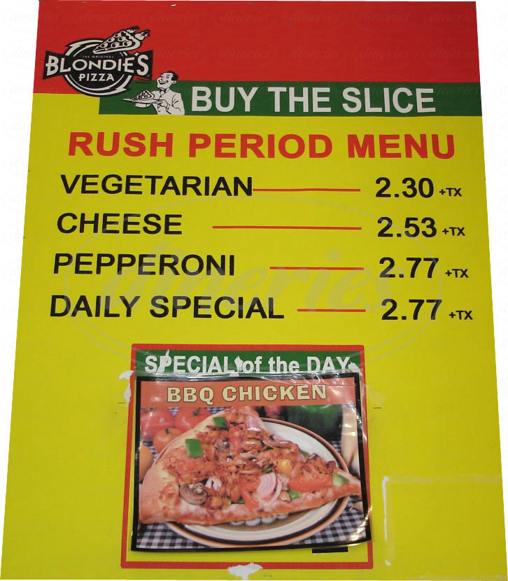 menu for Blondie's Pizza