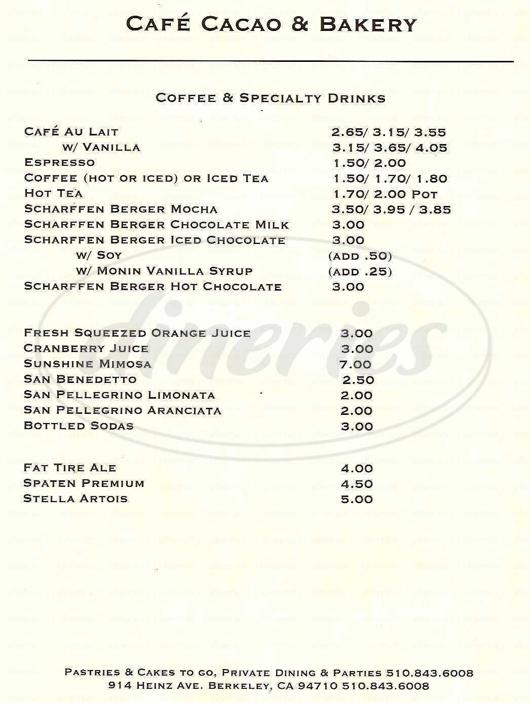 menu for Café Cacao