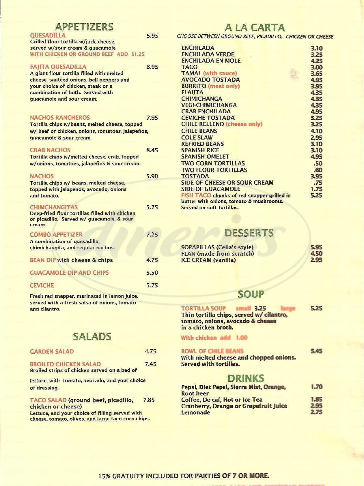 menu for Celia's Mexican