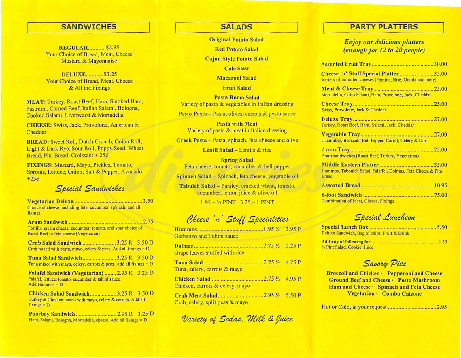 menu for Cheese 'n Stuff