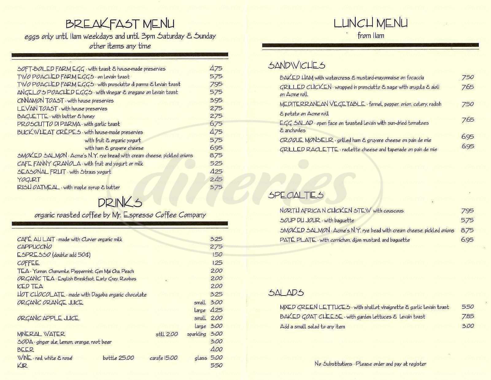 menu for Café Fanny