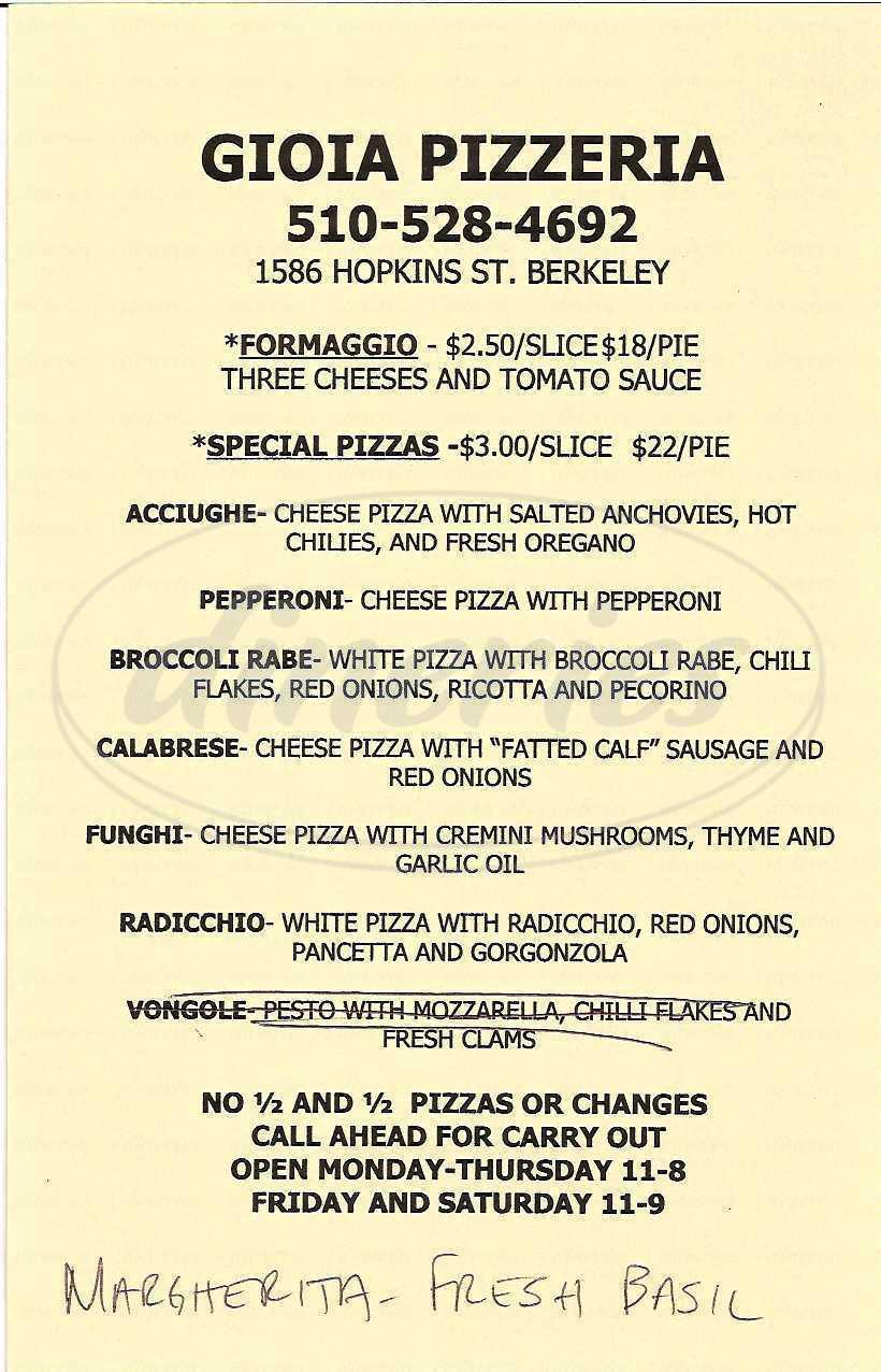 menu for Gioia Pizzeria