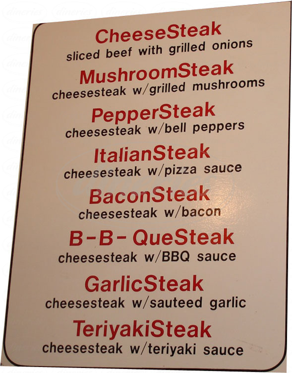 menu for IB's Hoagies