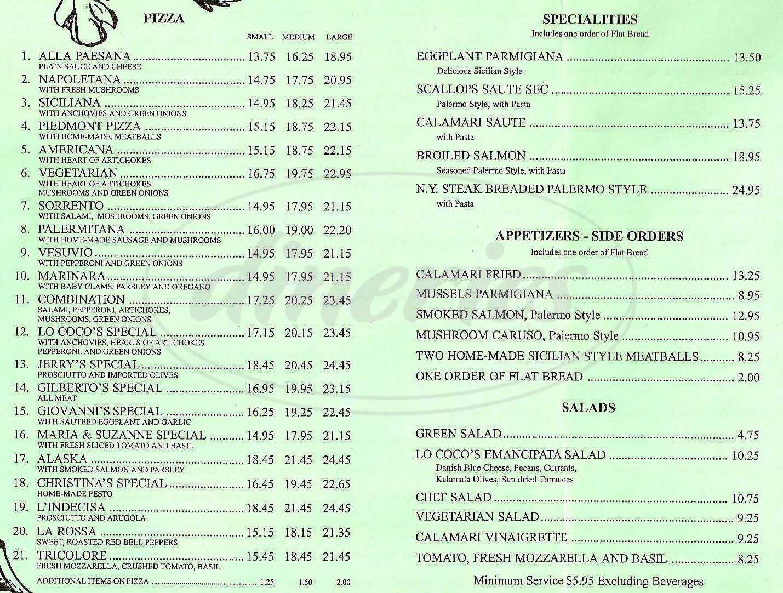 menu for Lococo's & Pizzeria