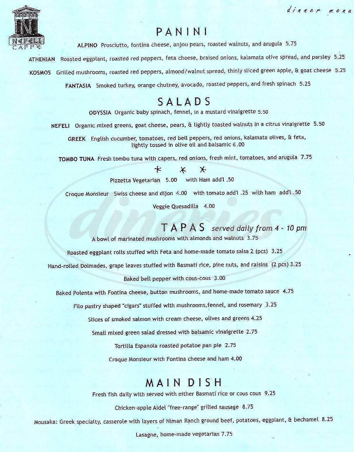 menu for Nefeli Café