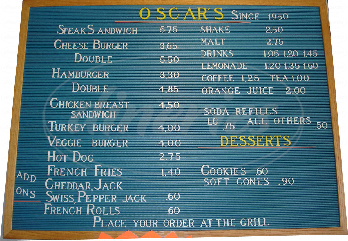 menu for Oscar's