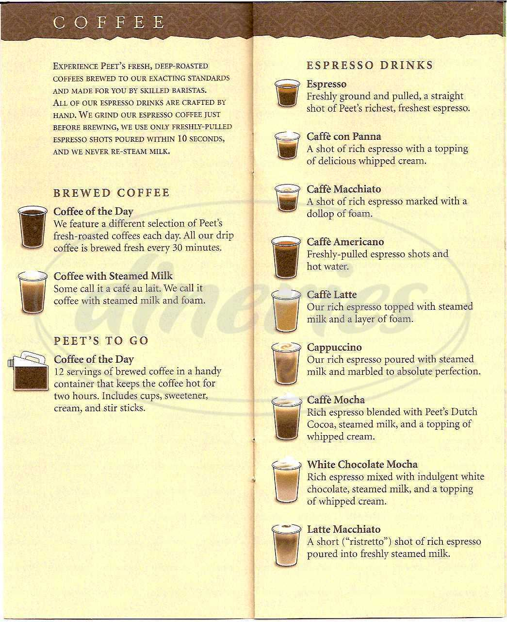 menu for Peet's Coffee & Tea