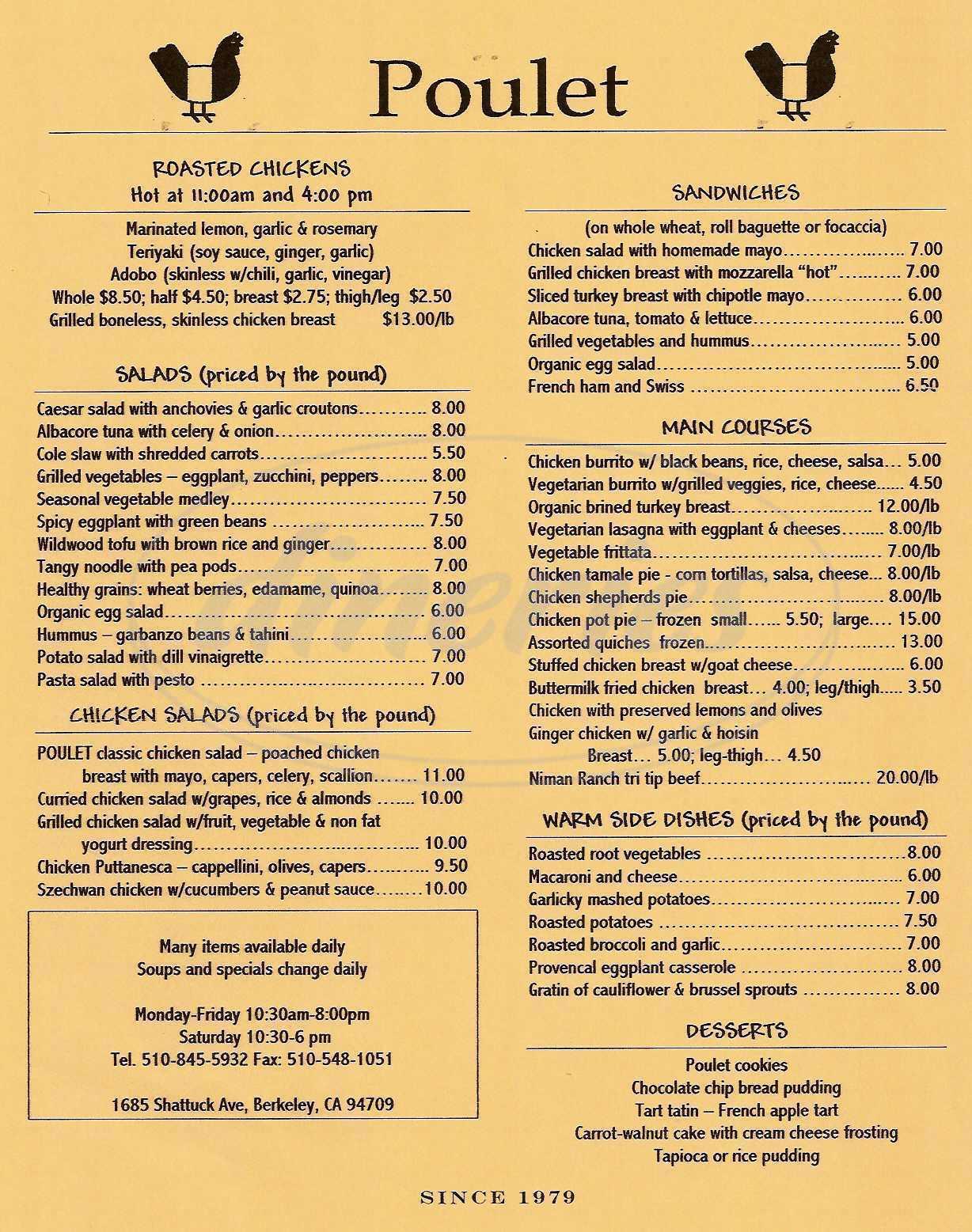 menu for Poulet