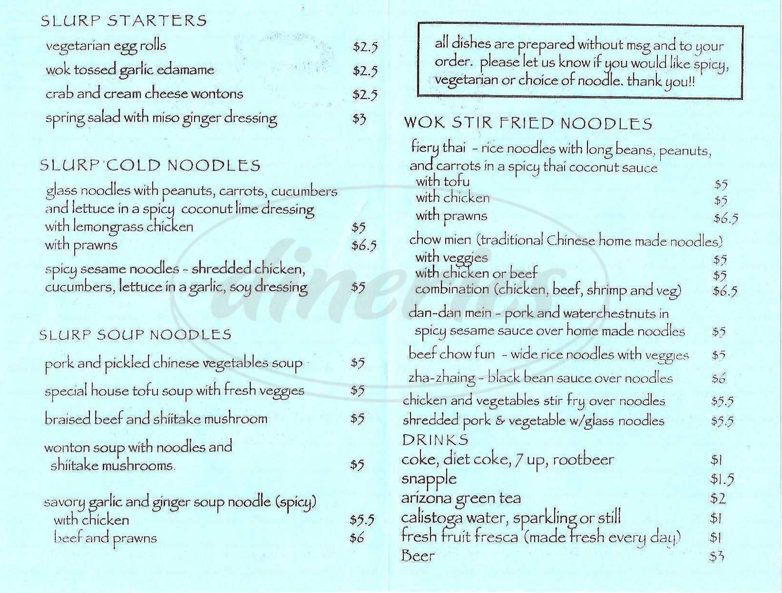 menu for Thai Noodle II