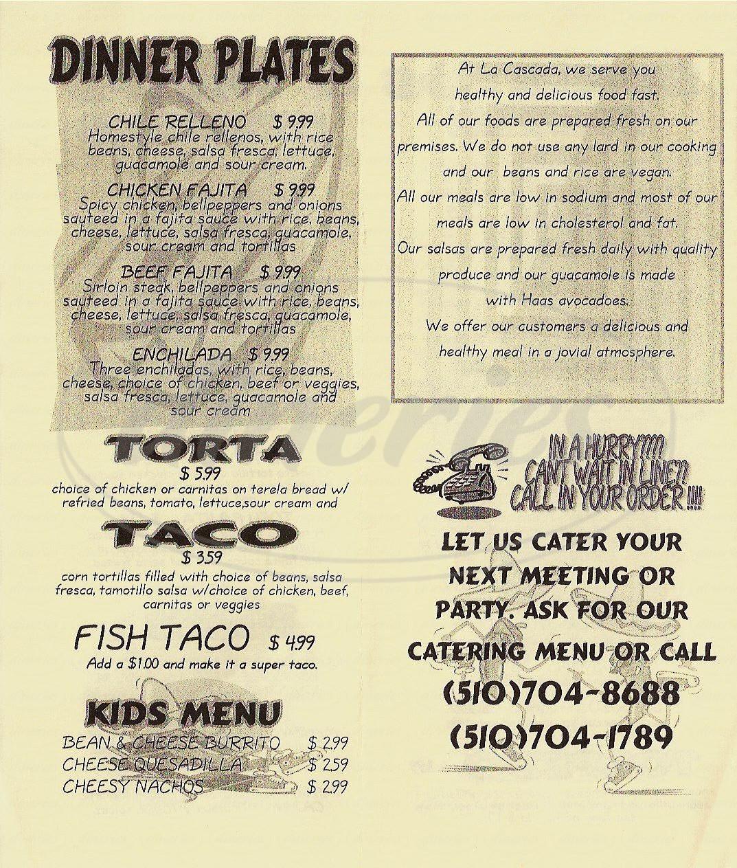 menu for La Cascada