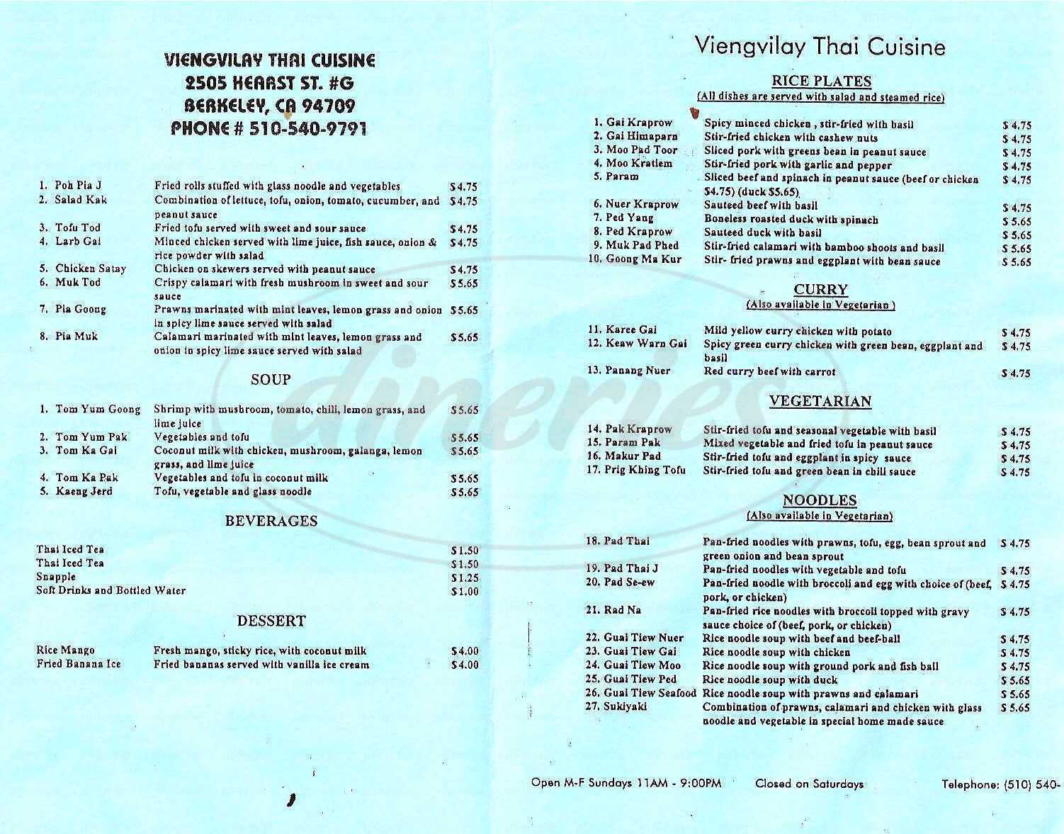 menu for Viengvilay Thai Cuisine