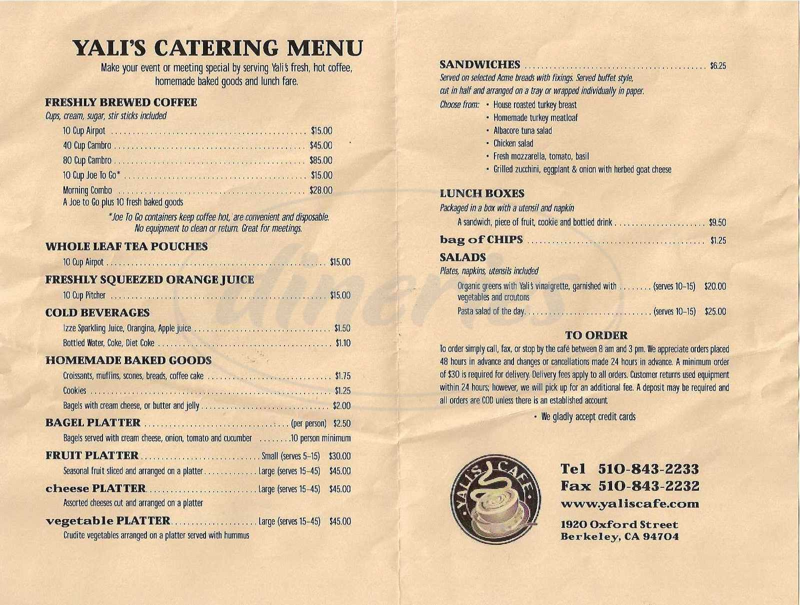 menu for Yali's Oxford Street Café