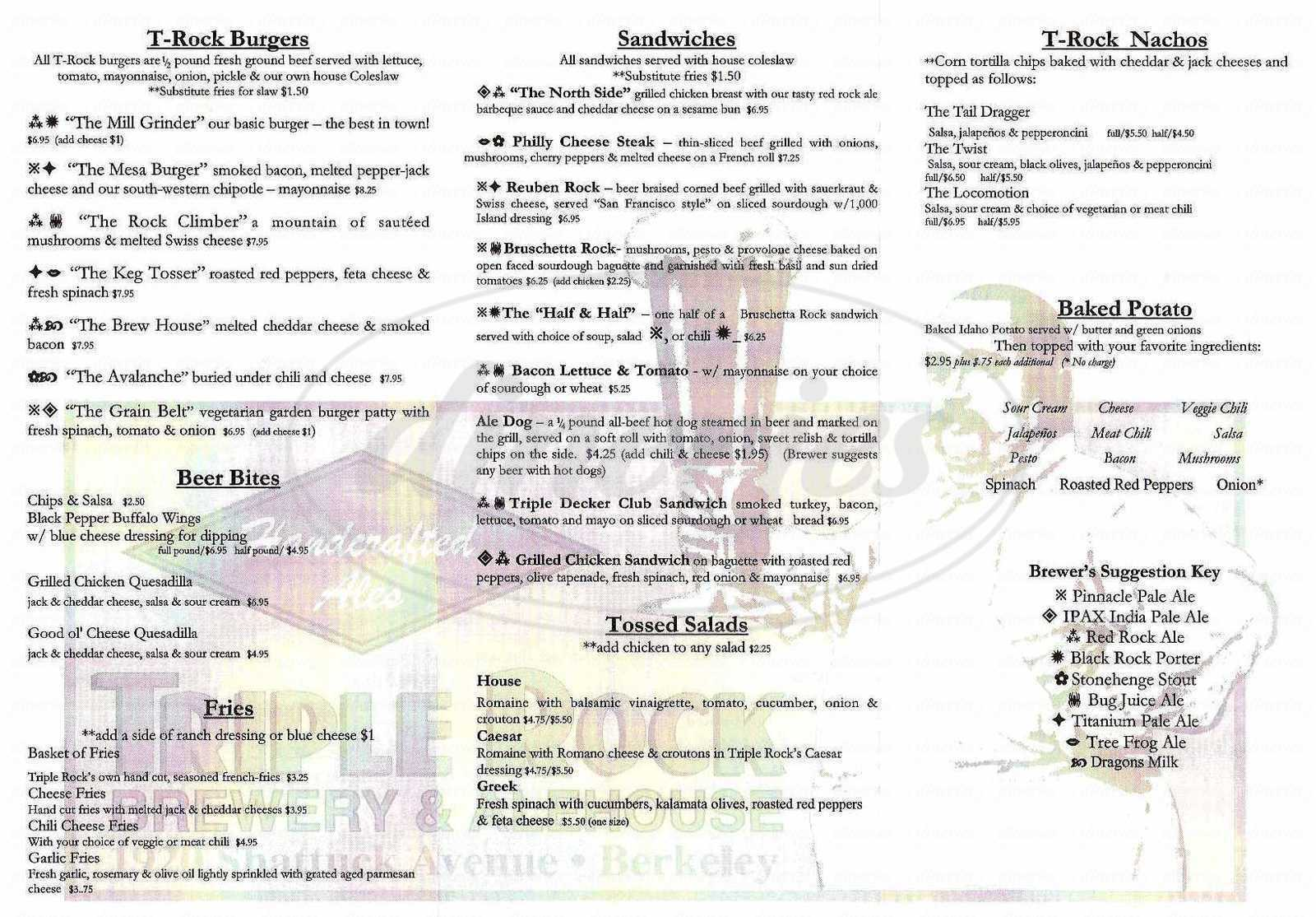 menu for Triple Rock Brewery