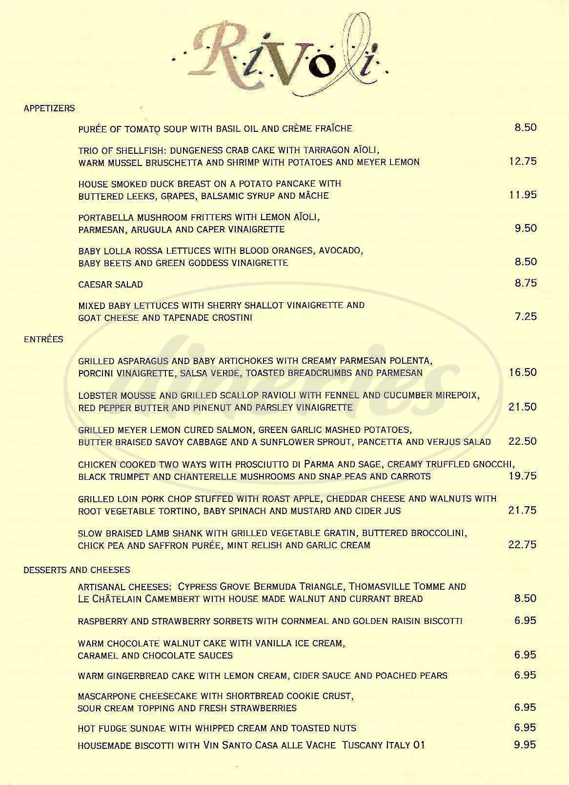 menu for Rivoli