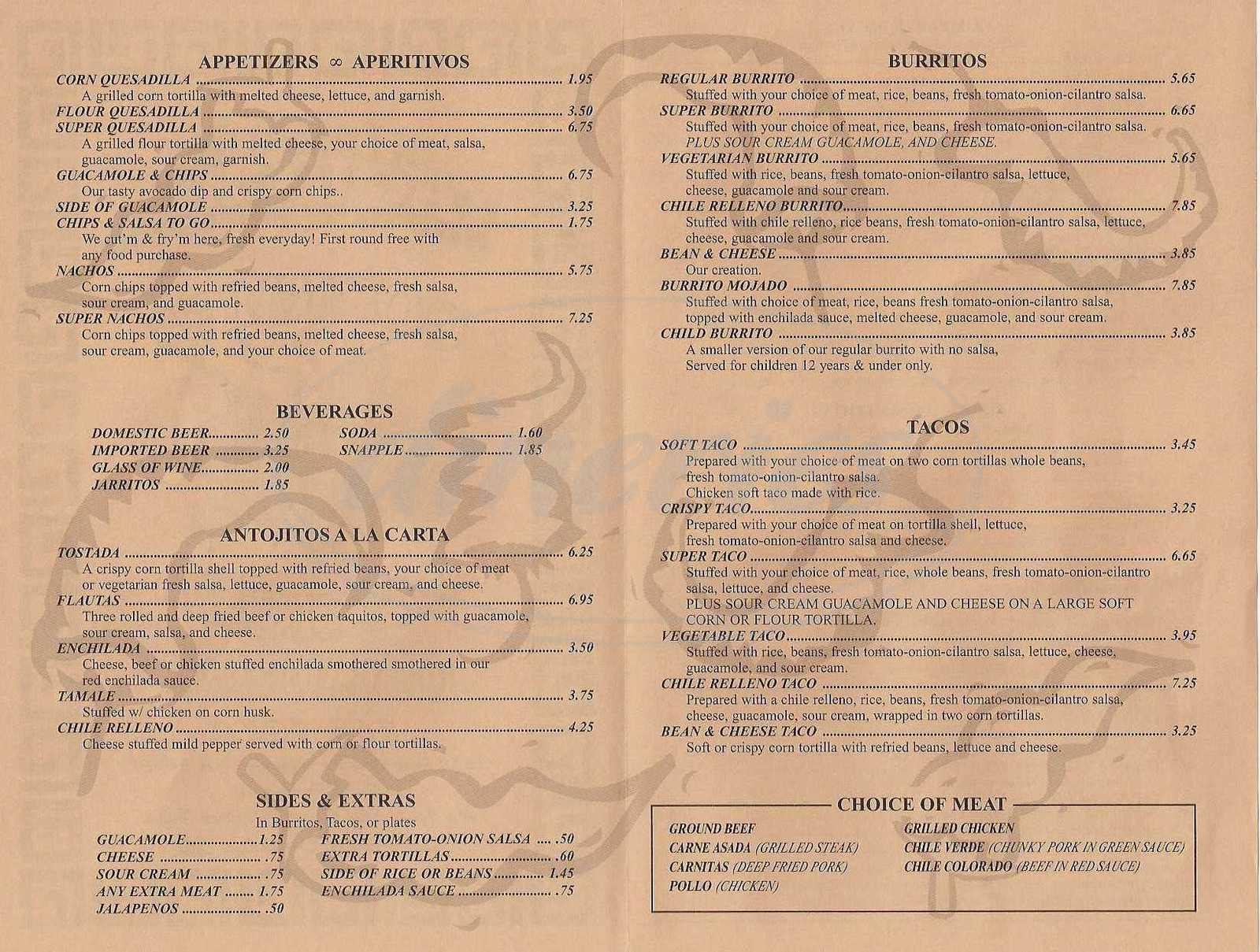 menu for Alameda Taqueria