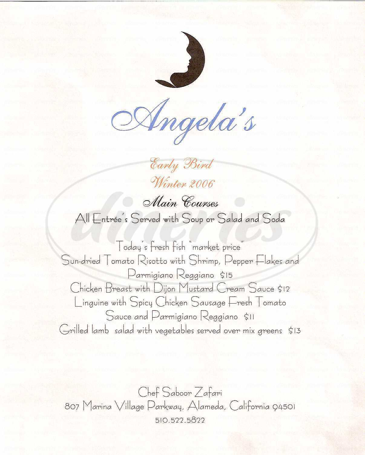 menu for Angela's