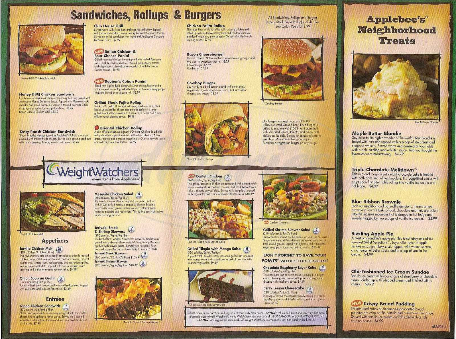 menu for Applebee's