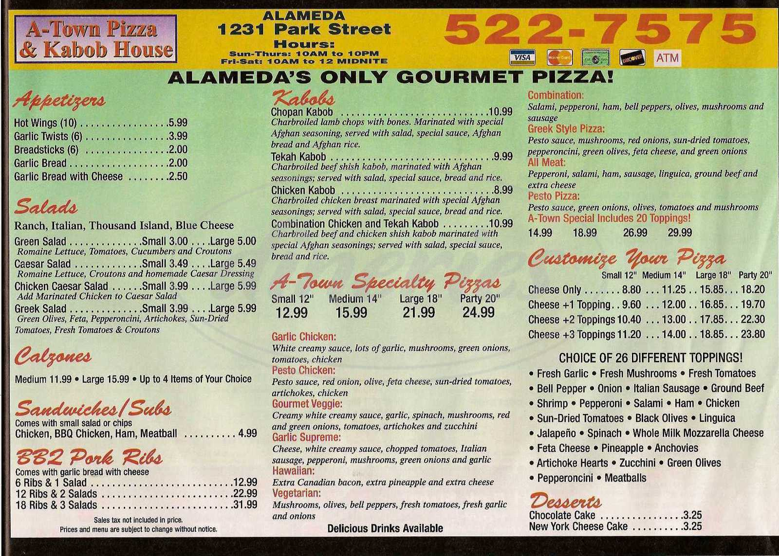 menu for A-Town Pizza and Kabob