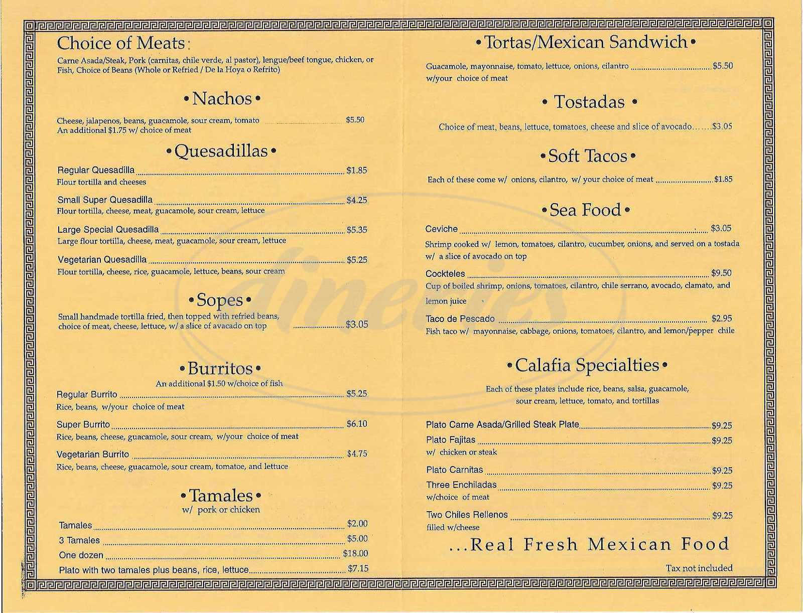 menu for Calafia Taqueria