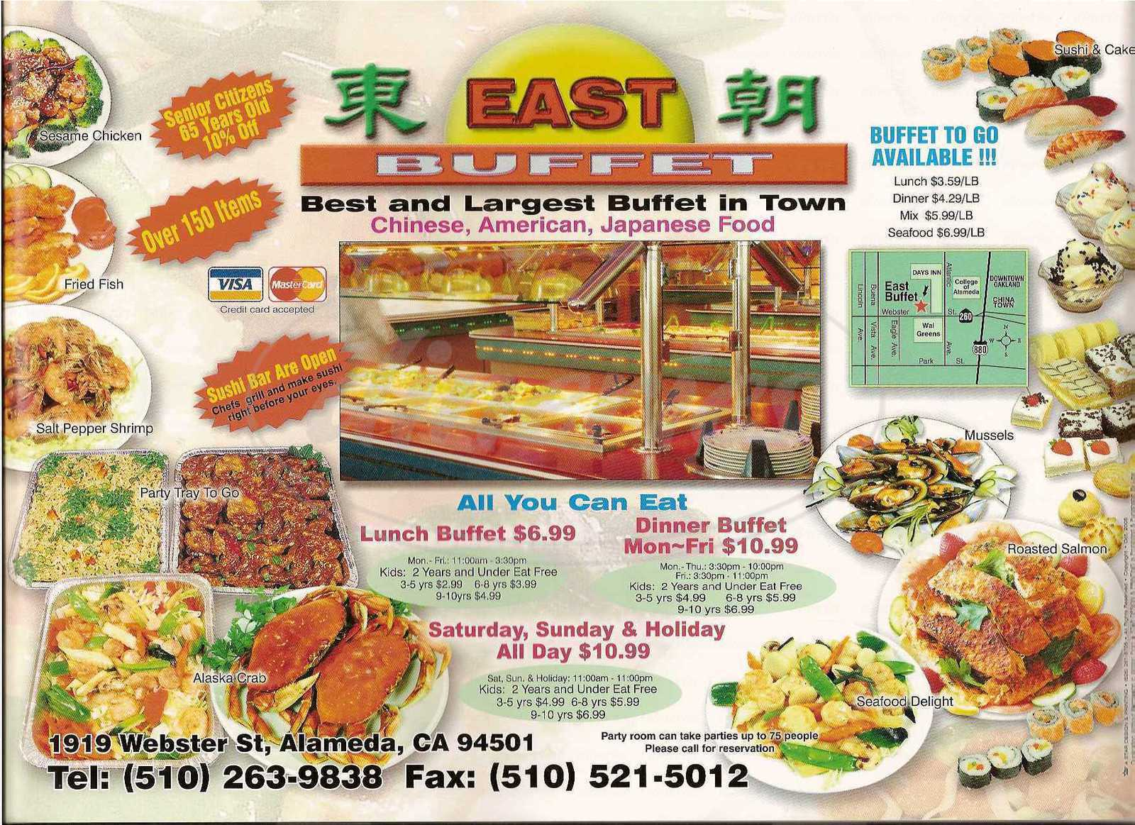 menu for East Buffet