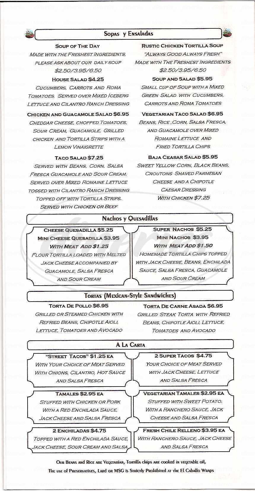 menu for El Caballo Wraps