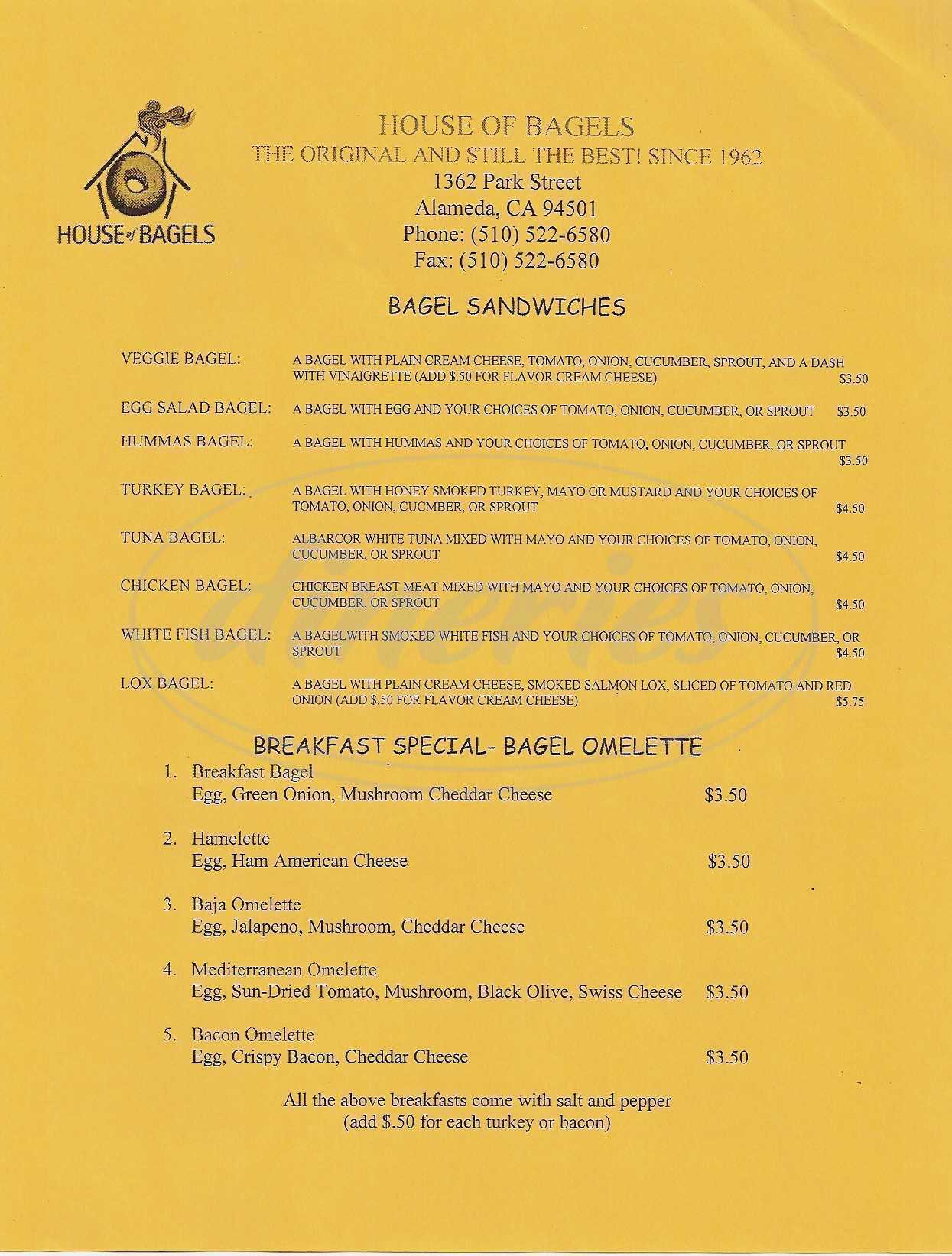 menu for House of Bagels