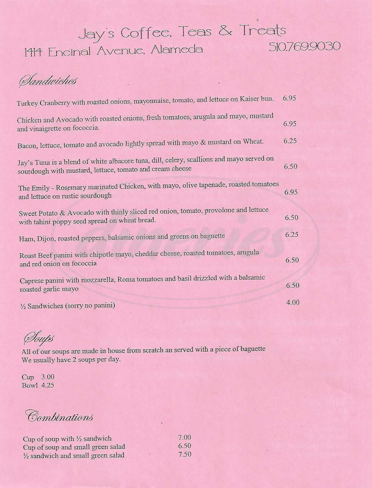 menu for Jay's Coffee, Teas & Treats