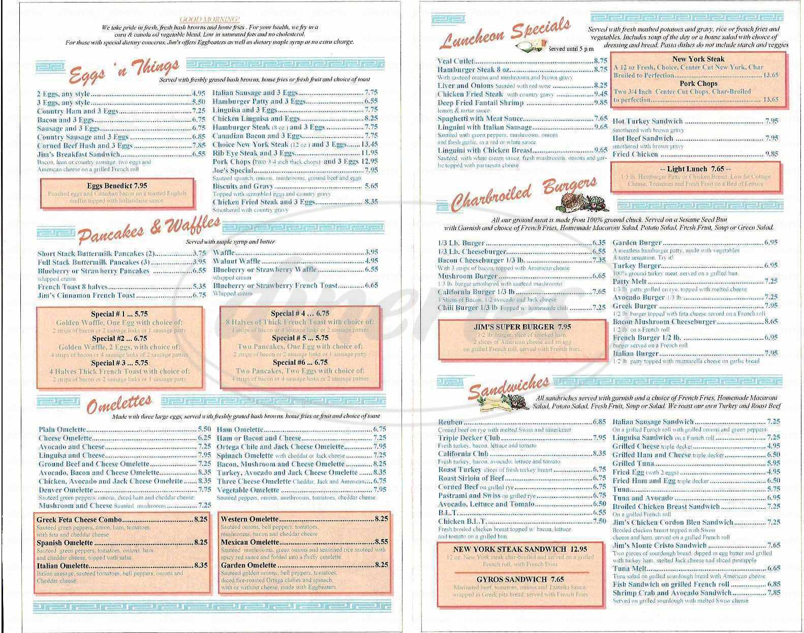 menu for Jim's Homestyle Diner