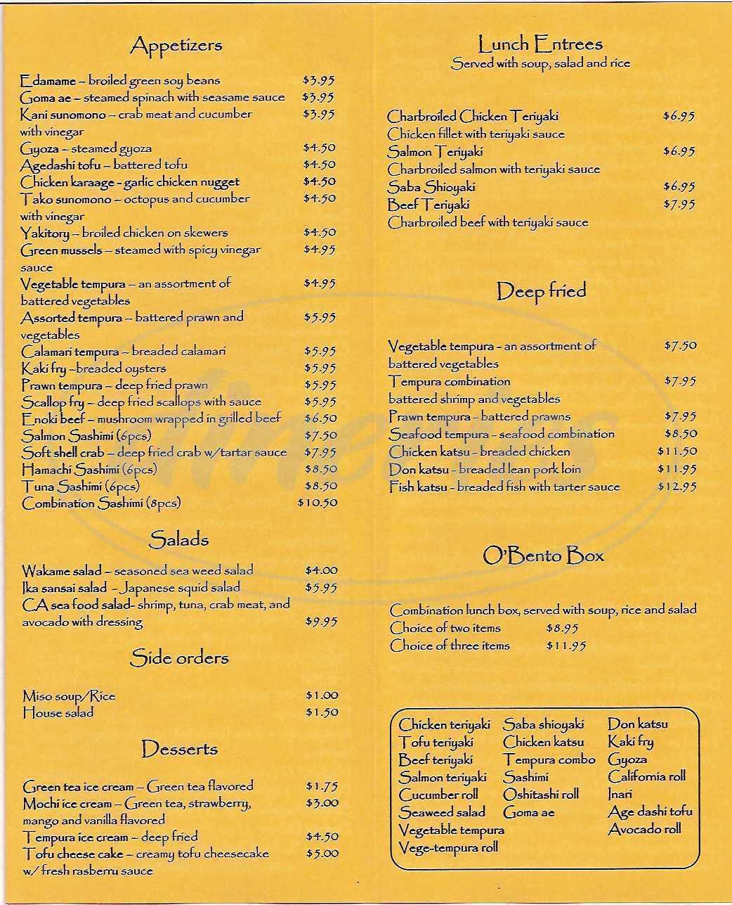menu for Katsu Sushi