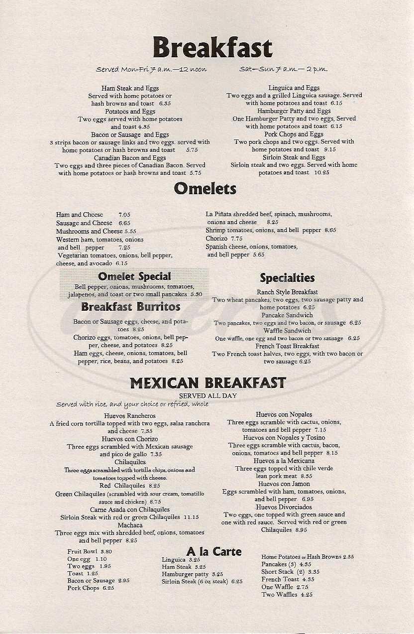 menu for La Piñata