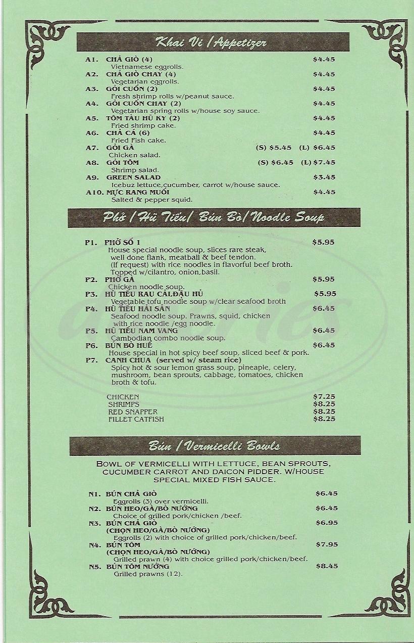 menu for Little Saigon