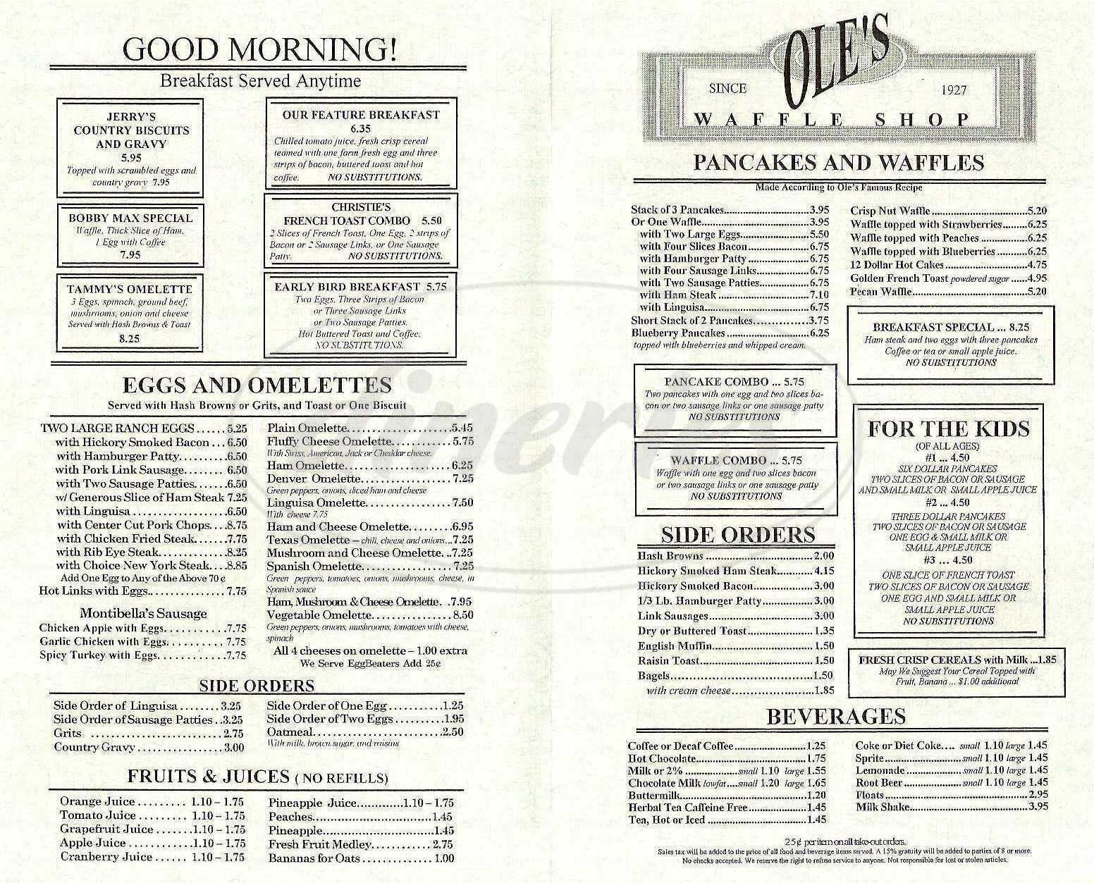 menu for Ole's Waffle Shop