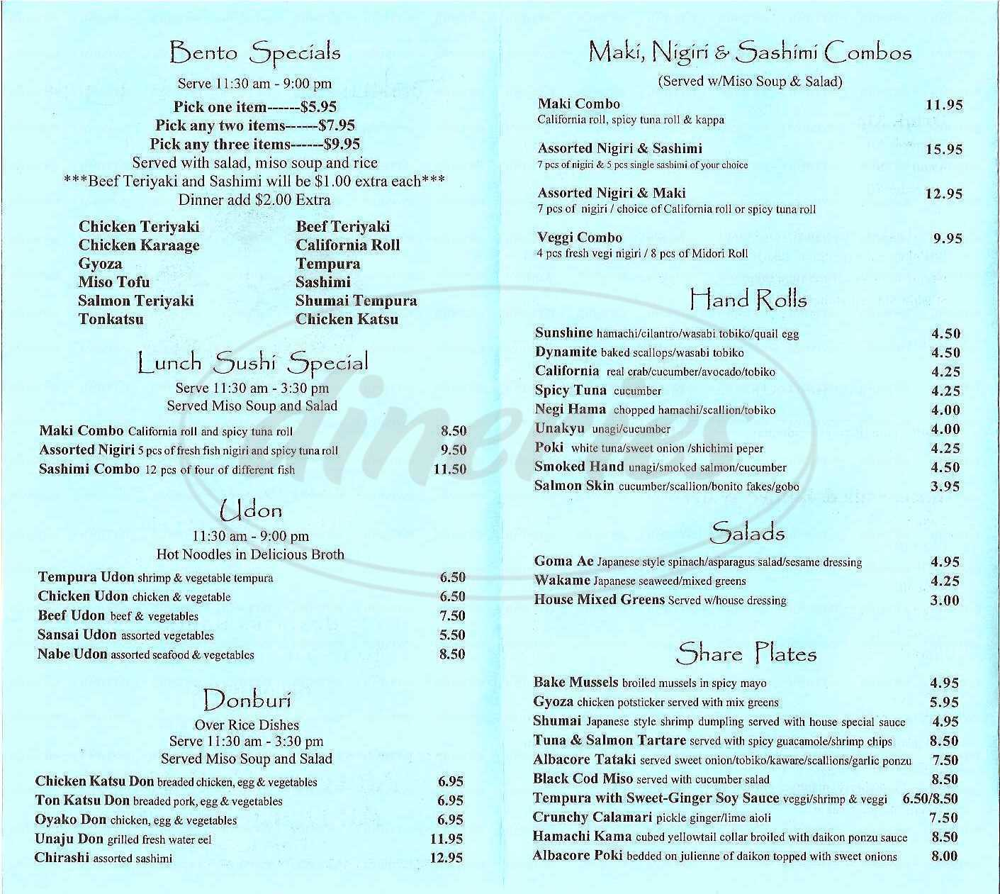 menu for Sakura Sushi and Grill