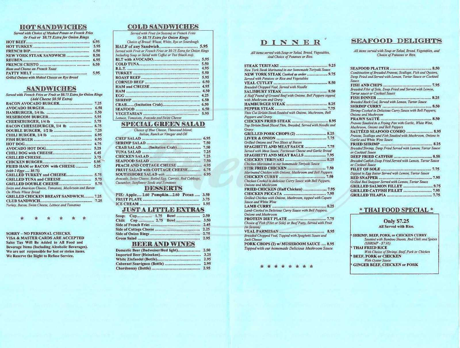 South Shore Cafe Alameda Ca Menu